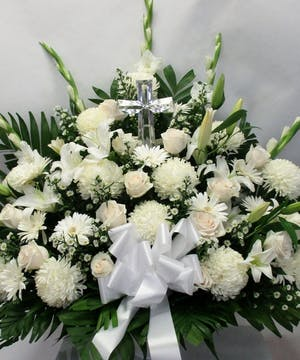 All White Basket with Crystal Cross