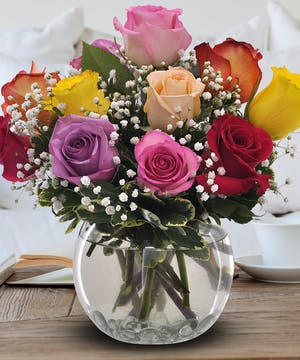 Bubble Bowl of  Mixed Colored Roses