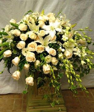 Casket Spray all White Premium Flowers