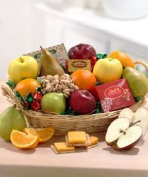 Traditional basket filled with assorted fresh fruits.