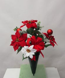 Poinsettia with Christmas Ball