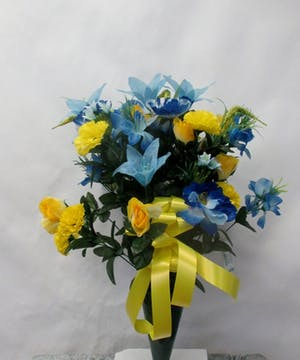 Blue and Yellow Silk cone