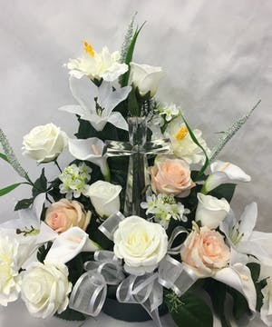 Crystal Cross in Silk flowers
