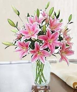 Clear glass vase filled with pink stargazer lilies and greenery