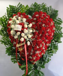 Heart of red carnations w/white rose overlay