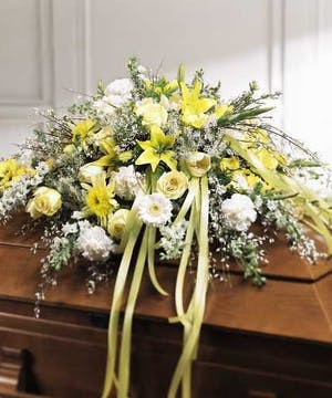 Casket spray yellow and white