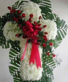 Chrysanthemum Cross with a red rose overlay
