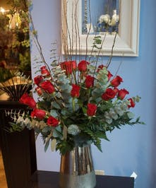30 red roses in a beautiful keepsake vase