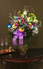 12 Rainbow roses with Crystal stems
