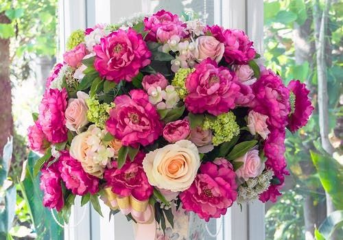 A gorgeous pink and peach bouquet