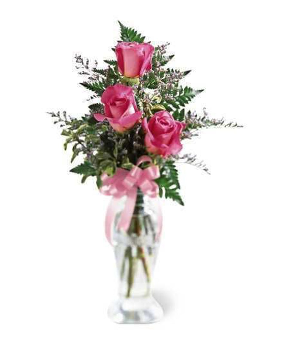 3 Roses In A Bud Vase Pink Moravian Florist Staten Island Ny
