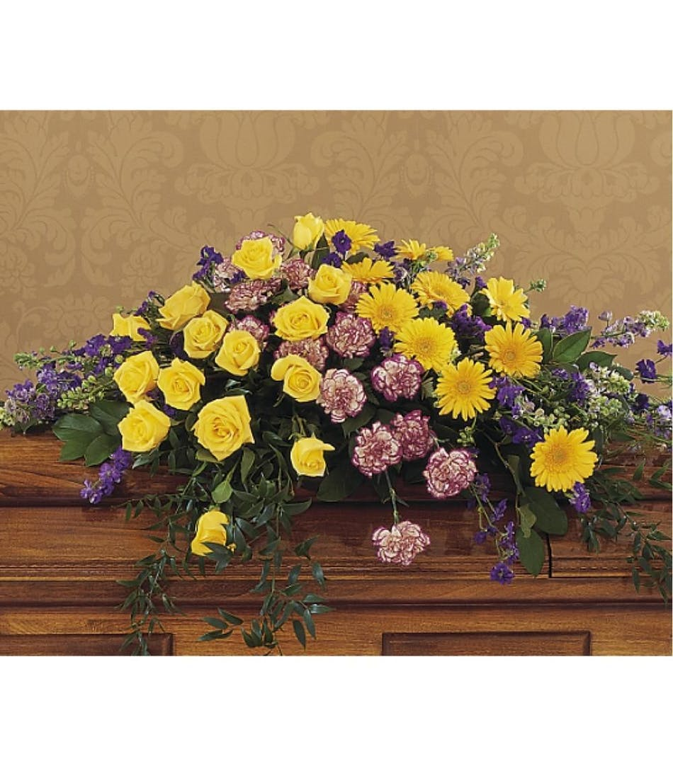 Casket spray funeral flowers staten island moravian florist available for nationwide delivery izmirmasajfo